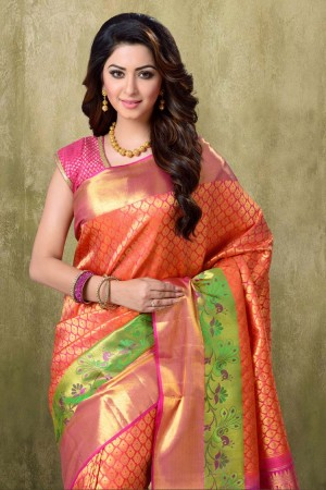 Kanjivaram Two tone Light Orange Saree