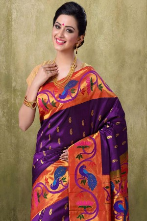 Paithani Brinjal Majanta Color Saree