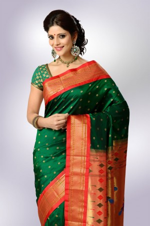 Green Color with Red BorderPaithani